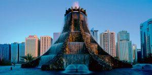 Конструкция фонтана вулкана с подсветками