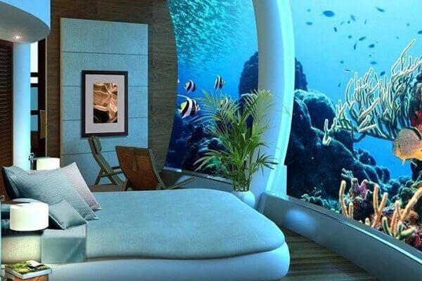 Заказ аквариума для спальни на стену
